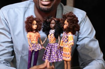 Taofick Okoya poses with his Queens of Africa dolls. (Photo: Isaac Emokpae)