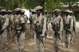 Chadian troops participate in the closing ceremony of Operation Flintlock in an army base in N'djamena, Chad, on Monday March 9, 2015. The U.S. military and its Western partners conduct this training annually. (AP Photo/Jerome Delay)