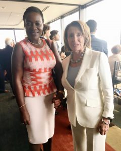 Nancy Pelosi, Minority Leader of the US House of Representatives and former Speaker of Congress with Angelle Kwemo at the Democratic Party Convention