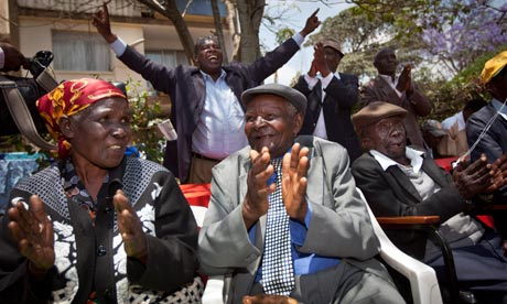 Kenyan Mau Mau who successfully challenged the British government, from left, Jane Muthoni Mara, Wambuga Wa Nyingi, and Paulo Muoka Nzili. Photograph: AP