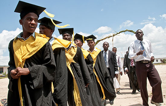 Graduation ceremony at a secondary school in Tanzania. Photo: Jonathan Kalan