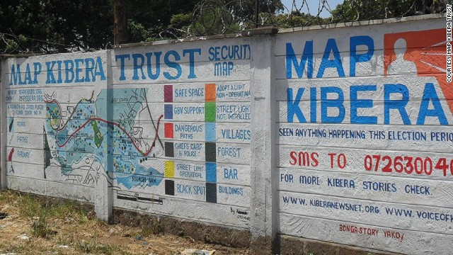 Map Kibera Trust has used mapping information from mobiles to create a security map on two walls in Kibera, Nairobi. Wall painting helped provide security information during Kenya's general election, showing political and trouble hotspots in the area.