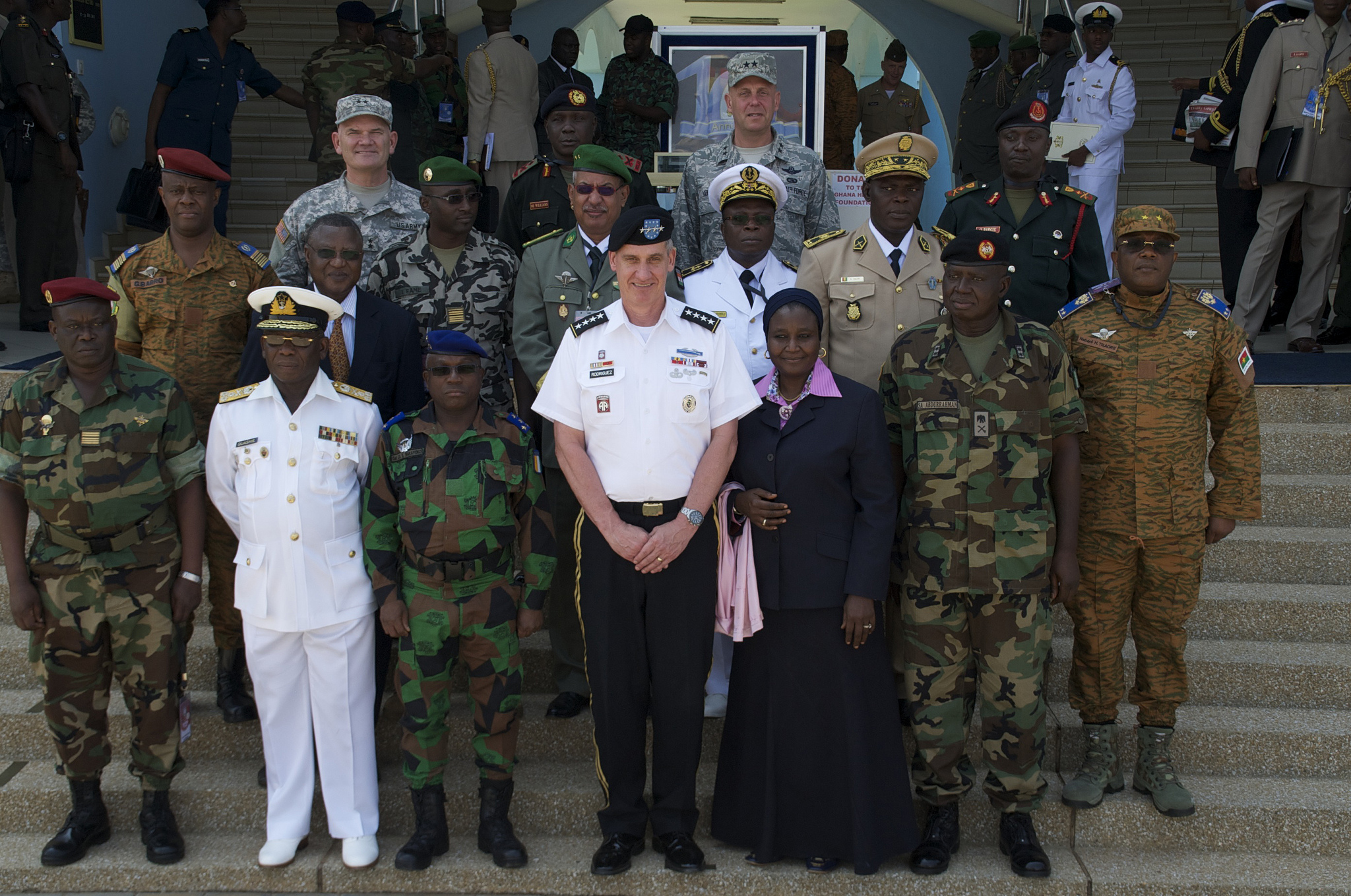 U.S. Army Gen. David Rodriguez, front row, center, the commander of U.S. Africa Command, poses for a photo with military leaders participating in exercise Western Accord 2013 in Accra, Ghana, June 26, 2013