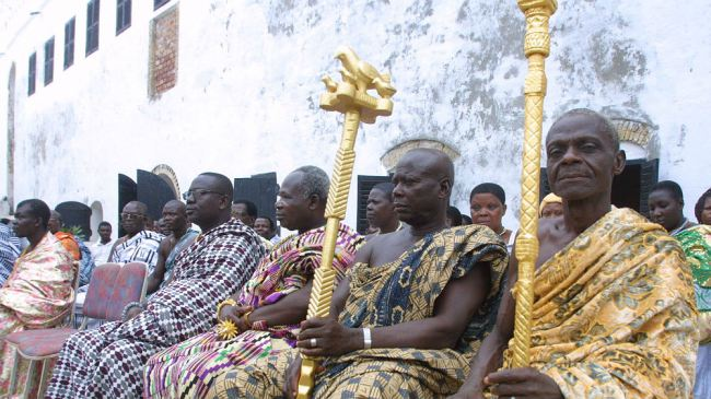 Local chiefs wait for visiting Dutch Crown Prince Willem Alexander and Princess Maxima at Elmina Castle April 15, 2002 in Ghana. From Elmina the Dutch shipped over 50,000 slaves to Surinam and an unknown number to other destinations in North and South America. (Photo by Michel Porro/Getty Images)