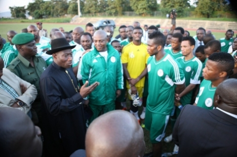 The Super Eagles of Nigeria and President Goodluck Jonathan