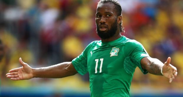 Didier Drogba has retired from international football after winning 104 caps with the Ivory Coast and captaining the side for eight years. Photograph: Warren Little/Getty Images