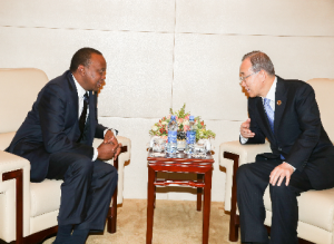 President Uhuru Kenyatta holds bilateral talks with United Nations Secretary-General, H.E. Ban Ki-moon, on the sidelines of the 24th Ordinary Session of the Assembly of Heads of State and Government of the African Union, at AU Headquarters in Addis Ababa, Ethiopia. Photo/PSCU -
