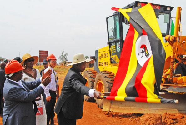 Museveni flags off the Olwiyo-Gulu-Kitgum-Musingo road works at Anaka Town Council in Nwoya District on Saturday. PHOTO BY CISSY MAKUMBI
