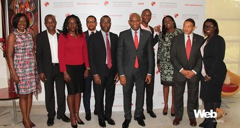 From L-R: Ms. Nimi Akinkugbe, Founder & CEO, Bestman Games Ltd; Prof Ndubuisi Ekekwe, Chairman, FASMICRO Group; Ms. Angelle Kwemo, Founder & Chair Believe in Africa, M. Sam Nwanze, Chief Investment Officer, Heirs Holdings; M.Amadou Hott, Founded FONSIS SA, M. Tony O. Elumelu, Chaiman, the Tony Elumelu Foundation; Mr. Ayodeji Adewunmi, President & CEO of Jobberman; Ms. Monica Musonda, CEO & Founder of Java Foods; Dr. Reid Whitlock, CEO, The Tony Elumelu Foundation and Ms. Mariéme Jamme, Founder, Africa Gathering