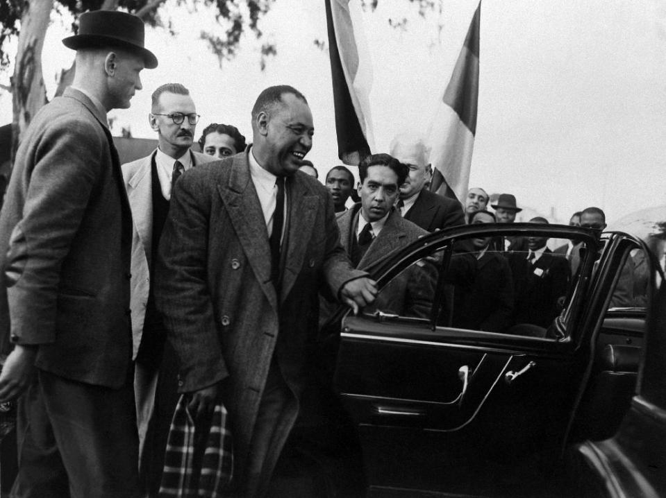 ANC leader John Beaver Marks (C) in Johannesburg, South Africa, seen in this June 1952 photograph. The remains of Marks and Moses Kotane are flown back to South Africa nearly 40 years after they died in Russia (AFP Photo/)