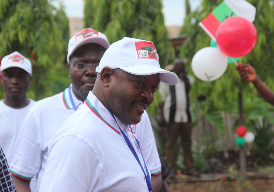 Burundi President Pierre Nkurunzinza (C) looks on during a party congress after his nomination as candidate for the next presidential election on April 25 in Bujumbura (AFP Photo/Landry Nshimiye)
