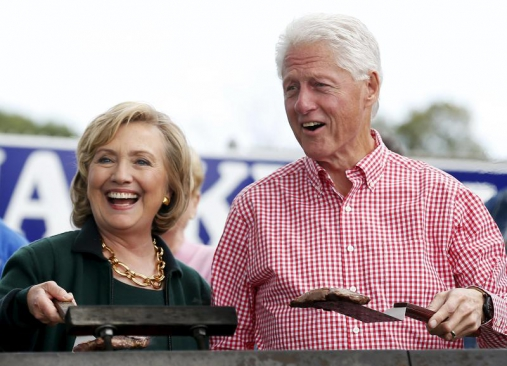 Former US Secretary of State Hillary Clinton and her husband former US President Bill Clinton. The former President and his daughter Chelsea are set to tour Kenya. (Photo:Reuters)