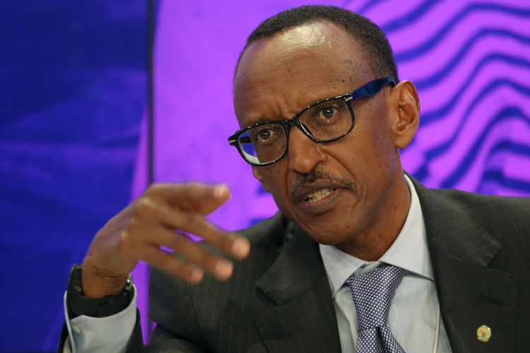 """Rwandan President Paul Kagame, """"like all heads of state who change term limits, wants to give the impression that he would prefer to leave but is reluctantly staying on for the good of his people."""" Photographer: Simon Dawson/Bloomberg"""