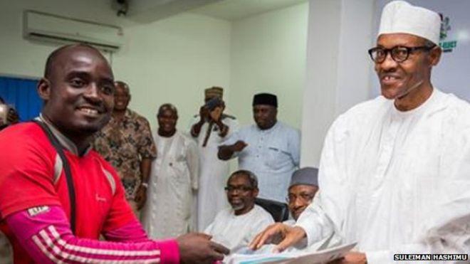 Nigerian walks 750km to meet President Buhari