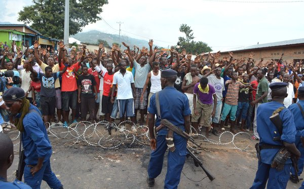 Ndabashinze Renovat/Anadolu Agency/Getty Images Security forces facing off with protesters in Bujumbura, Burundi, May 20, 2015