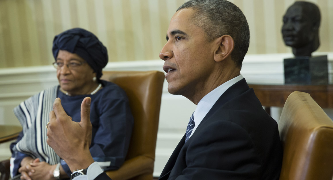 President Barack Obama meets with Liberian President Ellen Johnson Sirleaf in the Oval Office of the White House in Washington, Friday, Feb. 27, 2015, to discuss the ongoing response to the Ebola outbreak in Western Africa and Liberia's recovery from the deadly virus.  (AP Photo/Evan Vucci)