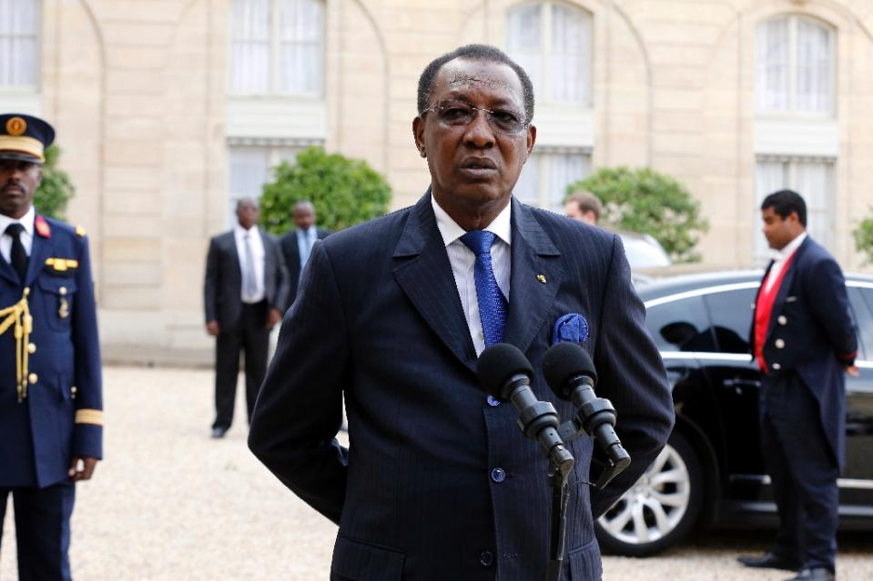 "Chad's President Idriss Deby, pictured in Paris on May 14, 2015, declared that efforts to combat neighbouring Nigeria's Boko Haram jihadists had succeeded in ""decapitating"" the group (AFP Photo/Francois Guillot)"