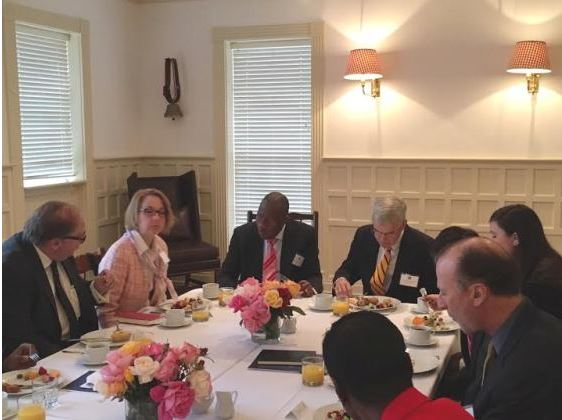 Ex-President Goodluck Jonathan being received by the Presidential Precint Board, US