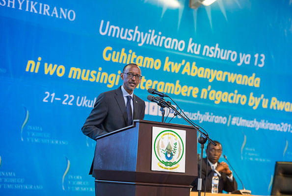 Rwandan President Paul Kagame delivers his state of nation address during the 13th national dialogue council (Umishyikirano) held at the Rwanda Convention Centre in Kigali on Monday December 21, 2015. Courtesy Photo