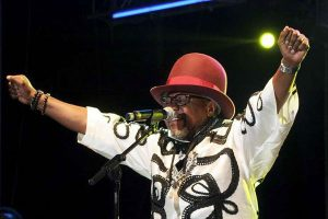 Congolese music star Papa Wemba performs during the Femua music festival in Abidjan on April 24, 2016 before collapsing on stage. DR Congo President Joseph Kabila has offered a plane to fly back from Cote d'Ivoire to Kinshasa on Thursday the body of Papa Wemba. AFP PHOTO   MAGAZINE TOP VISAGES