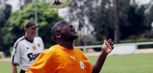 Abidjan, IVORY COAST: Burundian President Pierre Nkurunziza heads the ball as he attends a students training sessions at the ASEC Mimosas Academy in Abidjan 26 February 2007.  KAMBOU SIA/AFP/Getty Images)