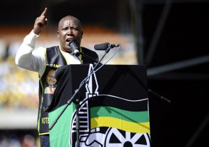 Malema, pictured at an African National Congress (ANC) rally in Soweto, South Africa, May 15, 2011, was formerly the leader of the ANC Youth League and a close ally of Jacob Zuma. STEPHANE DE SAKUTIN/AFP/GETTY IMAGES