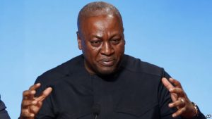 FILE - Ghana's President John Dramani Mahama, seen here delivering a speech in Paris, France, Nov. 10, 2015, might face a challenge from an opposition alliance in upcoming presidential, parliamentary and local elections.