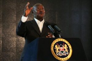 Ugandan President Yoweri Museveni addresses an audience during the second day of the Giant Club Summit of African leaders and others on tackling poaching of elephants and rhinos at the Fairmont Mount Kenya Safari Club in Nanyuki, Laikipia county, Kenya, April 29, 2016. REUTERS/Siegfried Modola
