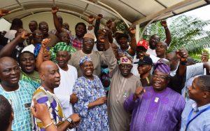 National Leader of APC Asiwaju Bola Ahmed Tinubu and other party leaders celebrating General Muhammadu Buhari's celebration in Lagos
