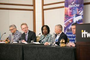 "L-R: Chris George, Strategic Negotiator, Google; Mike van den Bergh, CMO, PCCW Global; Funke Opeke, CEO, MainOne; Chris Wood, CEO, WIOCC and Willem Marais, Group Managing Executive and CEO, Liquid Telecom SA, during the MainOne-hosted Africa Panel Session themed ""Unlocking Africa's Digital Potential"" at the 2016 International Telecoms Week, held in Chicago... this week."