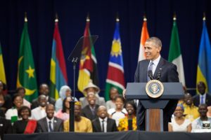 President Obama speaking at a YALI event in 2015.