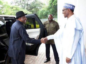 Former President Goodluck Jonathan paying a courtesy call to President Buhari