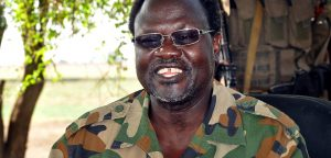 BOR, SOUTH SUDAN - APRIL 2: South Sudanese former President Riek Machar and Riek Machar forces at the military camp in the Ismaila village of Jonguei state, Bor,South Sudan on March 30, 2014 following the failed coup attempt on December 16, 2013. (Photo by Kunfe Michael Habtemariam/Anadolu Agency/Getty Images)