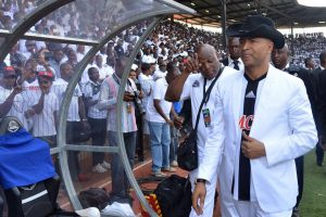 Congolese politician and football club owner Moise Katumbi, pictured attending a match of his club TP Mazembe in Lubumbashi on November 8, wants to replace Joseph Kabila as president this November. JUNIOR KANNAH/AFP/GETTY IMAGES