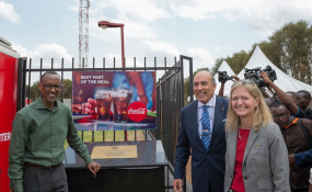 Photo: Village Urugwiro/The New Times President Kagame with the Chairman and Chief Executive Officer of The Coca-Cola Company, Muhtar Kent, and US Ambassador to Rwanda, Erica J. Barks-Ruggles, at the launch of Coca-Cola EKOCENTER in Ruhunda, Rwamagana District.