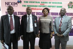 L – R: Mr. Bashir M. Wali, Acting MD/CEO, NEXIM Bank; Mr. George Enyiekpon, Director, Export Development and Incentives, NEPC; Mrs. Udoo Fateh, CBN; Mr. Musi A. Braimoh, MAN Export Group
