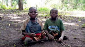 Disabled twins Semo and Seto Abu, aged 10, fled their home in South Sudan to Abossi settlement in Bambouti, Central African Republic. © UNHCR/Patience Ntemgwa