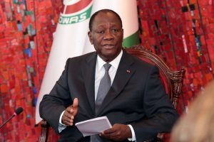 Ivory Coast's president Alassane Ouattara speaking during a meeting with country's opposition leaders at the presidential palace in Abidjan on June 7, 2016 (AFP Photo/Handout)
