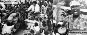 """Nigerians swarm round American World Heavyweight boxing champion Muhammad Ali as he sat atop his car during the drive to the hotel after arriving at the airport in Lagos, Nigeria on June 1, 1964. Ali who was on tour of West Africa, led the crowd in cheering himself as """"King of the world""""."""