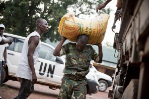 Shouldering the burden: the UN's mission in the CAR distributing food aid. Credit: UN Photo/Catianne Tijerina.