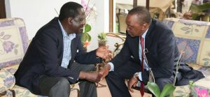 Opposition leader Raila Odinga with President Kenyatta