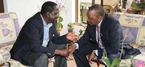 Opposition leader Raila Odinga with President Kenyatta