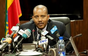 Ethiopian communications minister Getachew Reda speaks on border clashes with Eritrea, Addis Ababa, June 14. The two countries had a full-scale border war from 1998-2000 and violence has picked up again recently. SOLAN GEMECHU/AFP/GETTY IMAGES