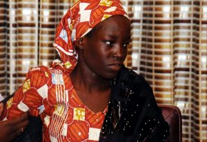 Amina Ali Nkeki, 19, is one of the Nigerian schoolgirls kidnapped by Boko Haram in 2014. She was found last month wandering in the Sambisa Forest, a Boko Haram stronghold, with her 4-month-old baby. Henry Chukwuedo/Anadolu Agency/Getty Image