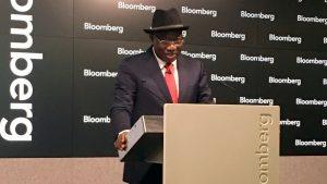Former President Goodluck Jonathan speaking at the Bloomberg Studio in London