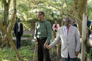 John and Paul come together as President Kagame welcomes President Magufuli to his home in April 2016, giving him five cows. Credit: Paul Kagame.