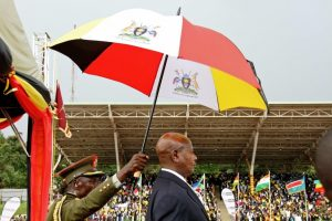 Uganda's President Yoweri Museveni stands under an umbrella during his swearing-in ceremony in Kampala on May 12. (Gael Grilhot/AFP/Getty Images)