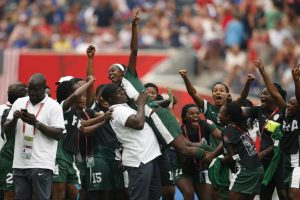 Nigeria's female football team celebrates a goal during a match at the Women's World Cup in Winnipeg, Canada, June 8, 2015. The vice-president of the Nigerian Football Federation suggested that lesbianism might be a negative influence. USA TODAY SPORTS IMAGES/REUTERS