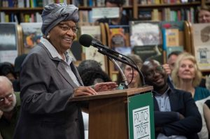 Sirleaf, at Politics & Prose bookstore Tuesday, has become a symbol of women's rise to power far beyond her nation of 4.5 million people. (Nicholas Kamm/AFP/Getty Images)