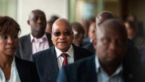 South African President Jacob Zuma visits the headquarters of Eskom Holdings SOC Ltd. at Megawatt Park in Johannesburg, South Africa, on Friday, May 6, 2016. Zuma seemed in danger of being ousted two months ago after the nation's highest court ruled he failed to uphold the constitution, but now he appears as powerful as ever. MUST CREDIT: Bloomberg photo by Waldo Swiegers. (Waldo Swiegers / Bloomberg)